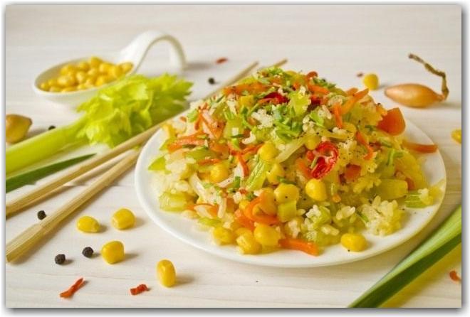 Рис по-пекински с овощами – постный рецепт